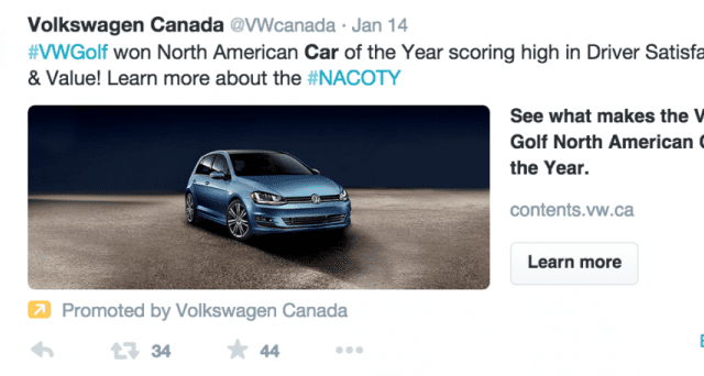 ANative Advertising Example from Volkswagen Canadaon Twitter