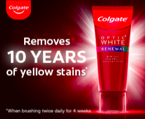 Colgate ad removes 10 years of yellow stains