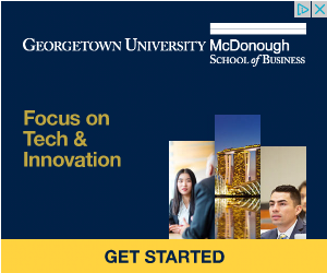 Georgetown business school ad, focu on tech and innovation