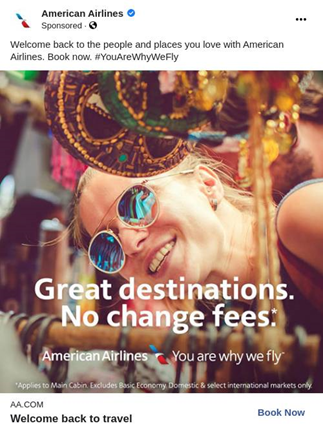 American Airlines Great destinations No change fees ad creative